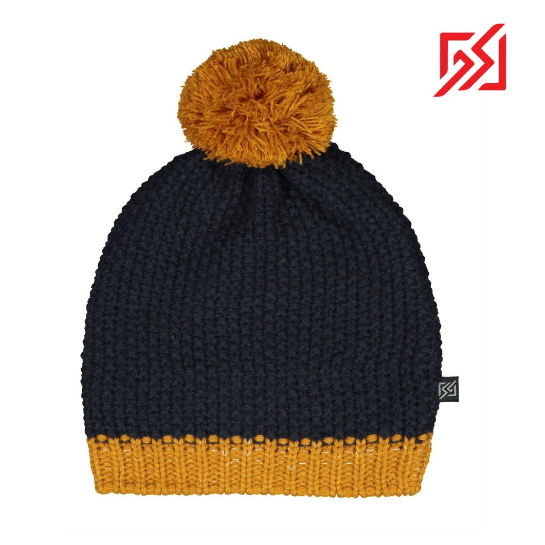 892408 CMD Mens Womens Navy Chunky Knit Beanie Bobble Hat with Reflective Detail Product Image Front