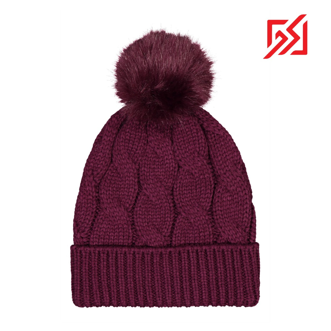 CMD Cable Knit Purple Winter Bobble Hat