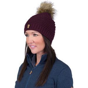 Catmandoo Kurje Berry Wine Ladies Faux-Fur Winter Pom Pom Bobble Hat Model Image 872903_5077