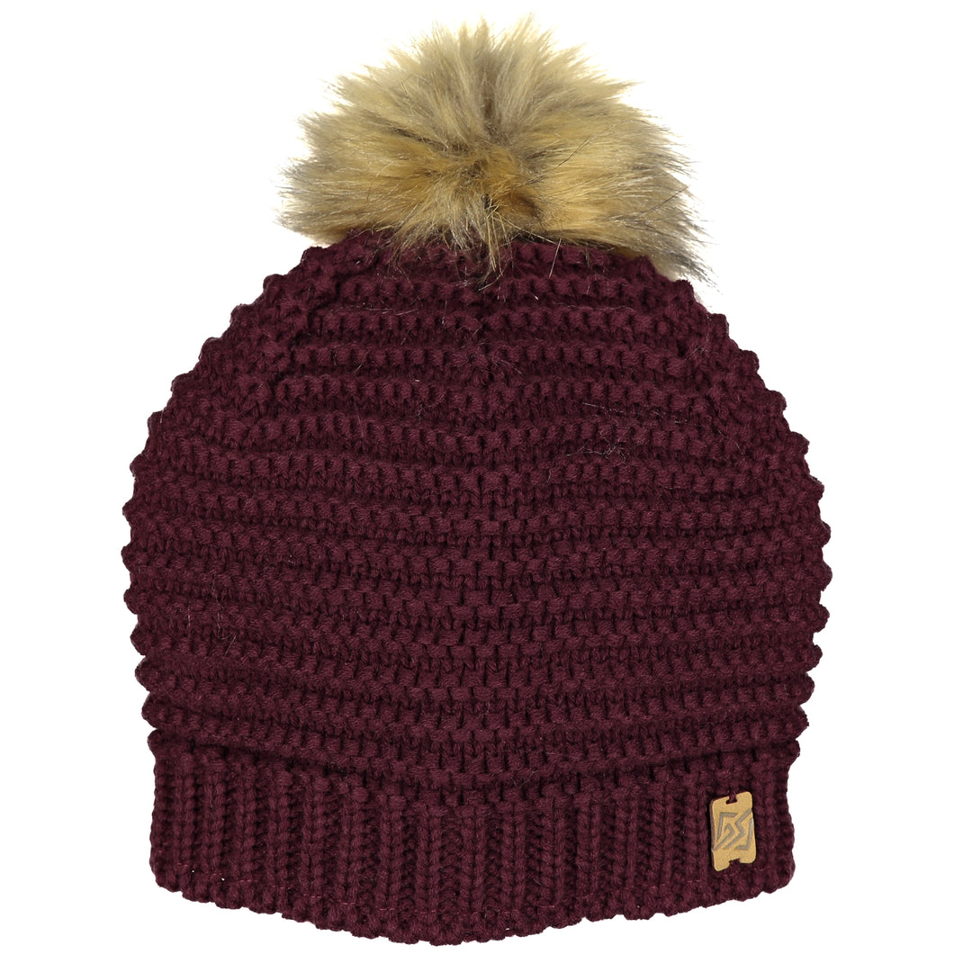 Catmandoo Kurje Berry Wine Ladies Faux-Fur Winter Pom Pom Bobble Hat Product 872903_5077