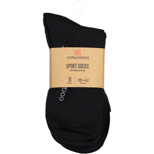 Catmandoo Unisex Crew Black Socks 3-Pack Packaging 811903