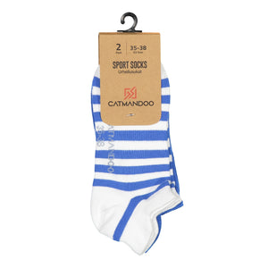 Catmandoo Oseye Blue & White Striped Sock 2-Pack Packaging Image 881083