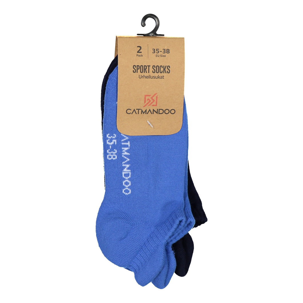 Catmandoo Unisex Sneaker Blue & Navy Athletic Sock 2-Pack Packaging 811906_MIX45