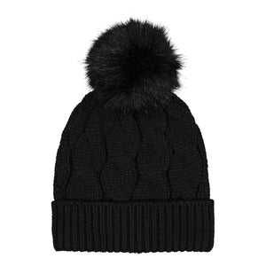 Catmandoo Agnes Cable-Knit Bobble Hat in Black Product Image 892043_060