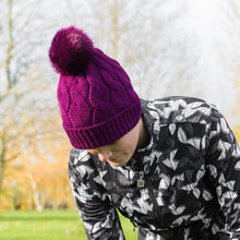 Catmandoo Agnes Cable-Knit Bobble Hat in Purple Model Image 892043_5059