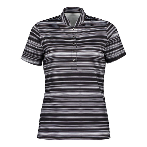 Catmandoo Women's Glory Black Print Polo Shirt Product Image Front 891012