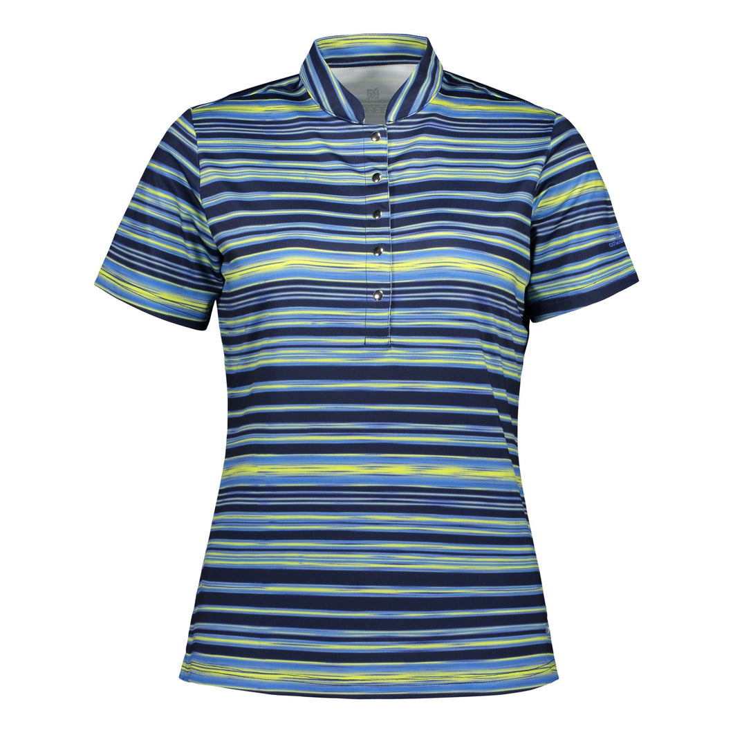 Catmandoo Women's Glory Navy Print Polo Shirt Product Image Front 891012