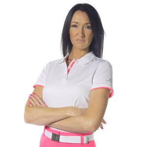 Catmandoo Women's Helen White Polo Shirt Model Front 871017