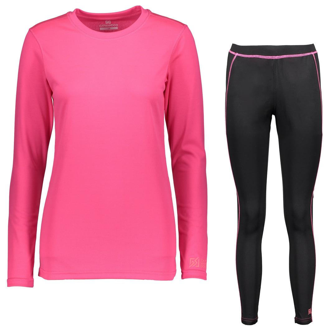 Catmandoo Helli Women's Pink Base Layer Set Top Leggings Front 862407