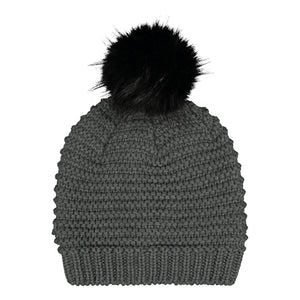 Catmandoo Ilo Reverse-Knit Bobble Hat in Pinstripe Grey Product Image 882318_002