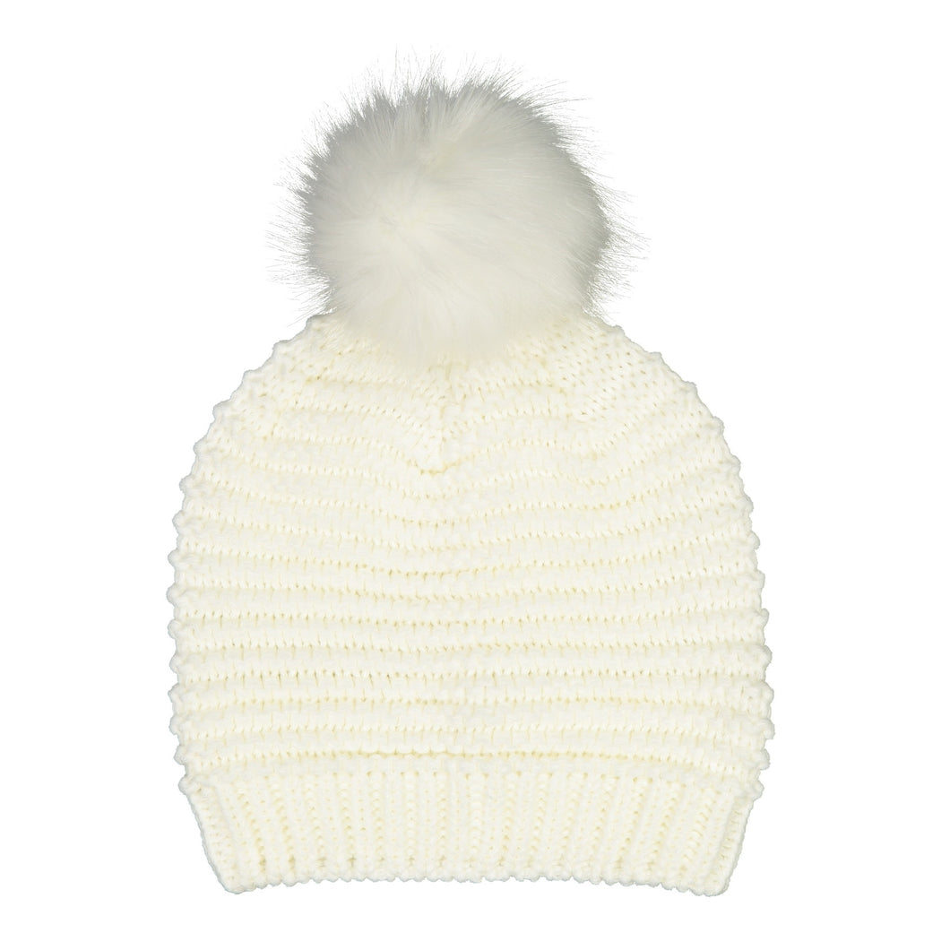 Catmandoo Ilo Reverse-Knit Bobble Hat in White Product Image 882318_002