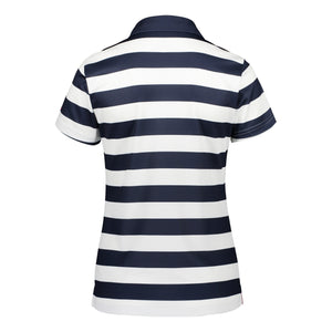 Catmandoo Women's Note Striped Polo Shirt Peacoat Blue Navy Product Image Back 891013