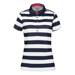 Catmandoo Women's Note Striped Polo Shirt Peacoat Blue Navy Product Image Front 891013