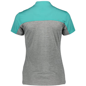 Catmandoo Women's Orsay Zip Neck Polo Shirt Blue Curacao & Grey Product Image Back 881017