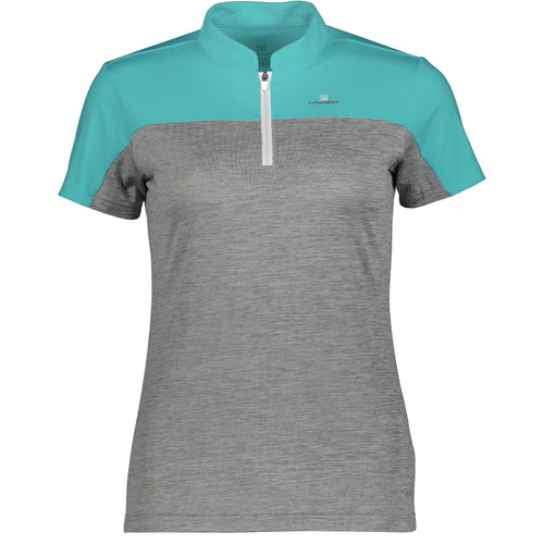 Catmandoo Women's Orsay Zip Neck Polo Shirt Blue Curacao & Grey Product Image Front 881017