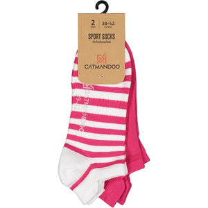 Catmandoo Oseye Bright Rose & White Striped Sock 2-Pack Packaging Image 881083