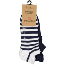 Catmandoo Oseye Navy & White Striped Sock 2-Pack Packaging Image 881083