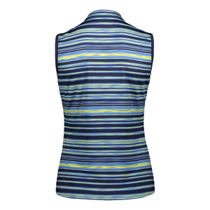 Catmandoo Women's Ripple Peacoat Blue Navy Sleeveless Polo Shirt Product Image Back 891014