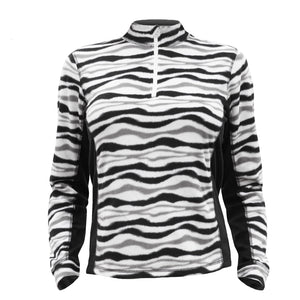 Catmandoo Sania Womens Black White Zebra Microfleece Mid Layer Top Front 882035_060P