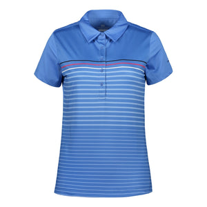 Catmandoo Women's Spry Striped Polo Shirt Blue Regatta Product Image Front 891030