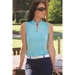 Catmandoo Women's Swona Sleeveless Polo Shirt Blue Curacao Model Image Front 881021
