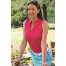 Catmandoo Women's Swona Sleeveless Polo Shirt Bright Rose Model Image Front 881021