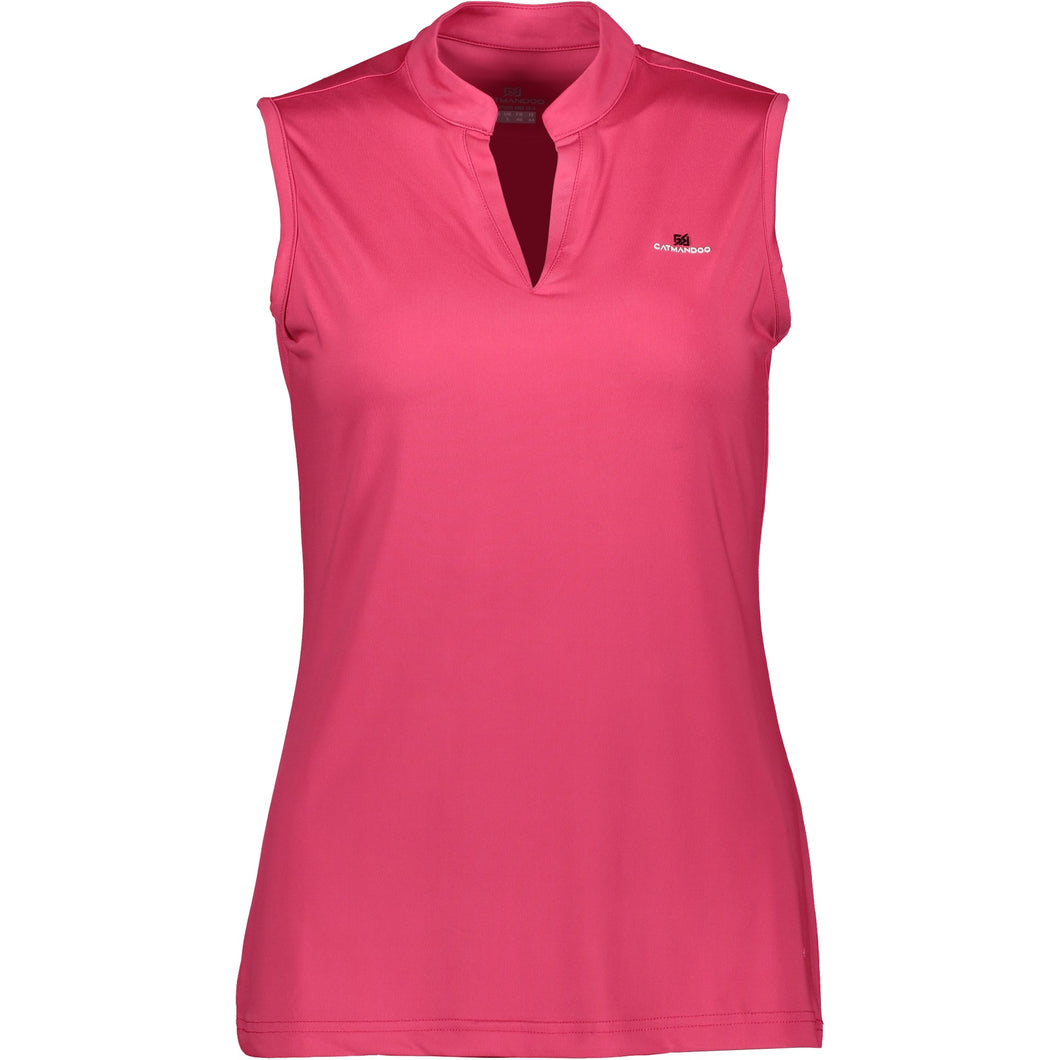 Catmandoo Women's Swona Sleeveless Polo Shirt Bright Rose Product Image Front 881021