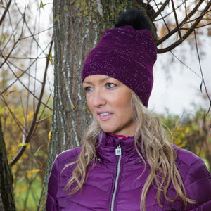 Catmandoo Zoe Glitter Yarn Bobble Hat in Purple Model Image 892404_5059