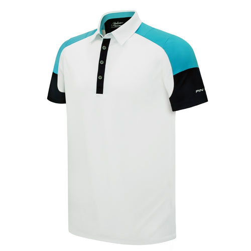 Pin High Men's Damon White Golf Polo Shirt Product Image Front PHSH 173