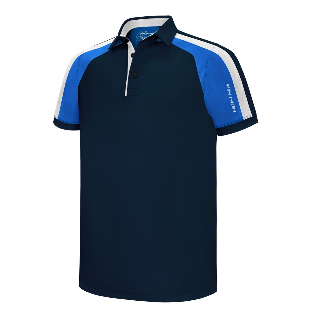 Pin High Men's Gerry Navy Golf Polo Shirt Product Image Front PHSH 211