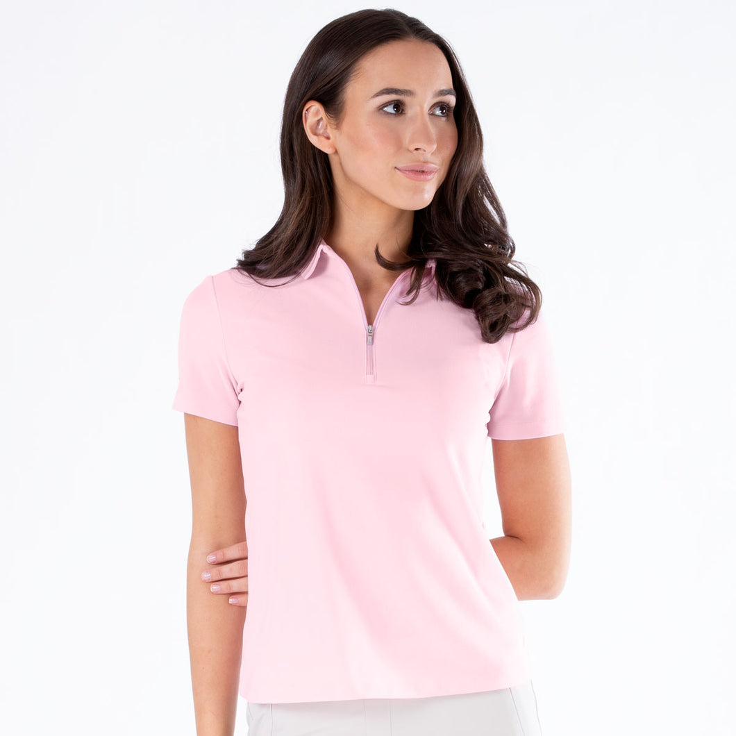 NI0210100 Nivo Nila Ladies Quiet Pink Short Sleeve Polo Shirt Product Image Front