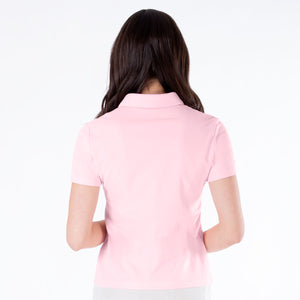 NI0210100 Nivo Nila Ladies Quiet Pink Short Sleeve Polo Shirt Product Image Rear