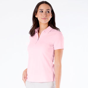NI0210100 Nivo Nila Ladies Quiet Pink Short Sleeve Polo Shirt Product Image Side