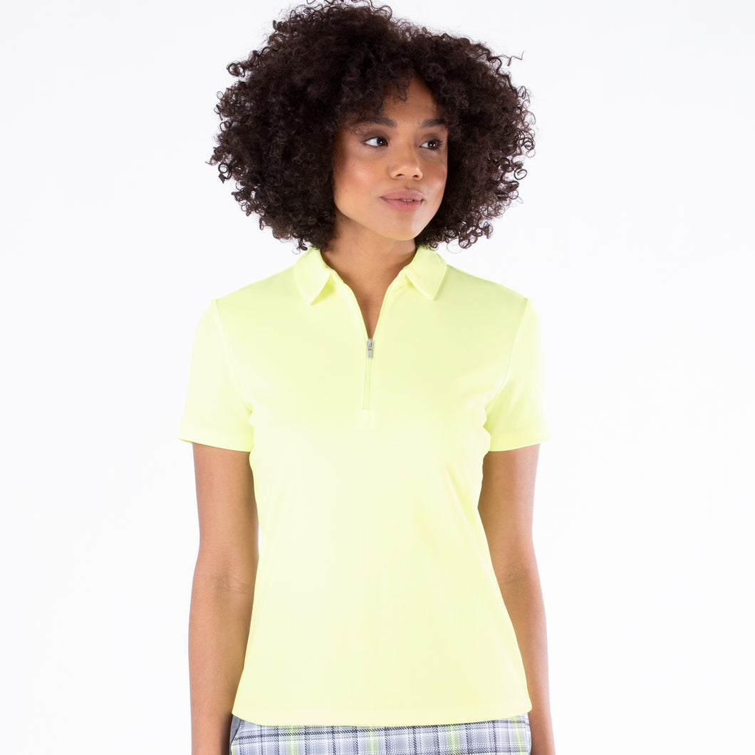 NI0210100 Nivo Nila Ladies Sunny Lime Short Sleeve Polo Shirt Product Image Front