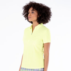 NI0210100 Nivo Nila Ladies Sunny Lime Short Sleeve Polo Shirt Product Image Side