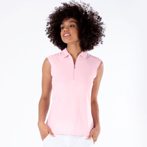 NI0210101 Nivo Nikki Ladies Quiet Pink Sleeveless Polo Shirt Product Image Front