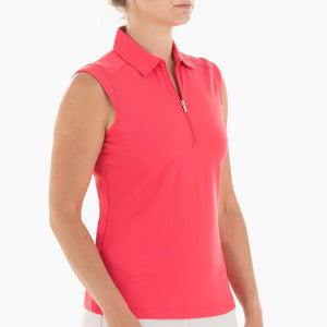 NI0210101 Nivo Nikki Women's Sleeveless Polo Shirt Geranium Product Image Side