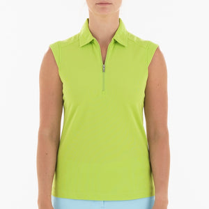 NI0210101 Nivo Nikki Women's Key Lime Sleeveless Polo Shirt Product Image Front
