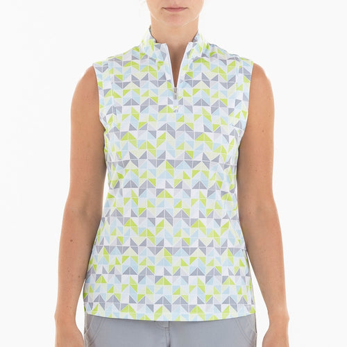 NI0210111 Nivo Gail Women's Patterned Mock Neck Sleeveless Polo Shirt Product Image Front