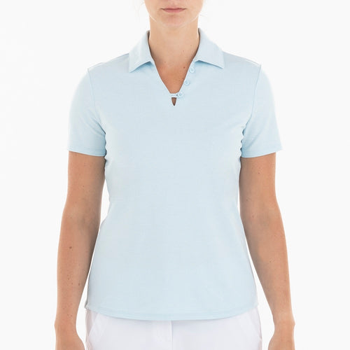 NI0210112 Nivo Ginger Women's Ice Blue Jacquard Polo Shirt Product Image Front