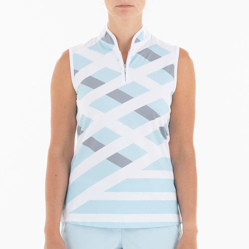 NI0210113 Nivo Geneva Women's Ice Blue Mock Neck Sleeveless Polo Shirt Product Image Front