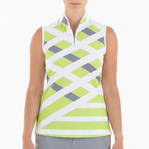 NI0210113 Nivo Geneva Women's Key Lime Mock Neck Sleeveless Polo Shirt Product Image Front
