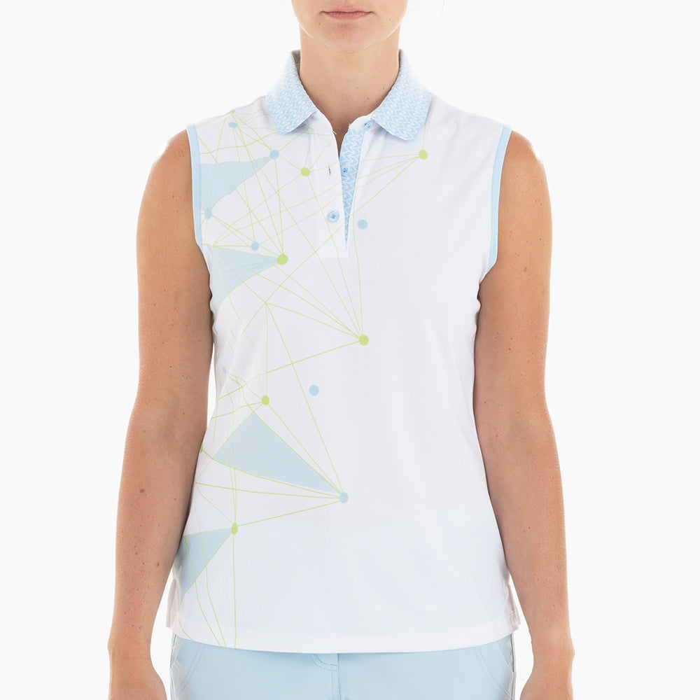 NI0210114 Nivo Genna Women's White Sleeveless Print Polo Shirt Product Image Front