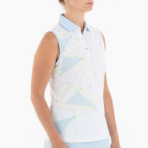 NI0210114 Nivo Genna Women's White Sleeveless Print Polo Shirt Product Image Side