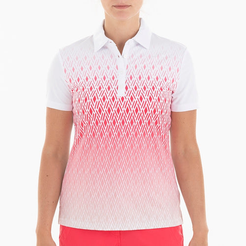 NI0210122 Nivo Bryce Women's White Print Mesh Polo Shit Product Image Front