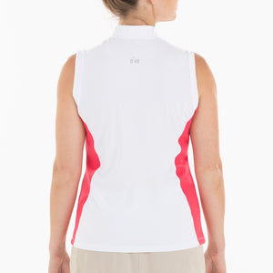 NI0210123 Nivo Beth Women's White and Geranium Sleeveless V-Neck Polo Shirt Product Image Back