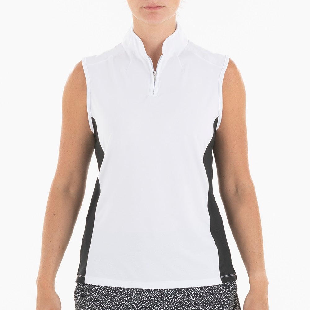 NI0210132 Nivo Simona Women's White Mock Neck Sleeveless Polo Shirt Product Image Front