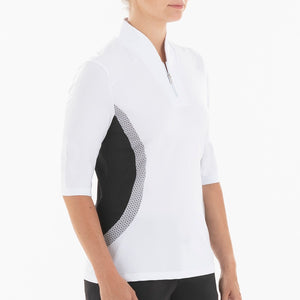 NI0210134 Nivo Sheri Women's White Elbow Sleeve Mock Neck Shirt Product Image Side