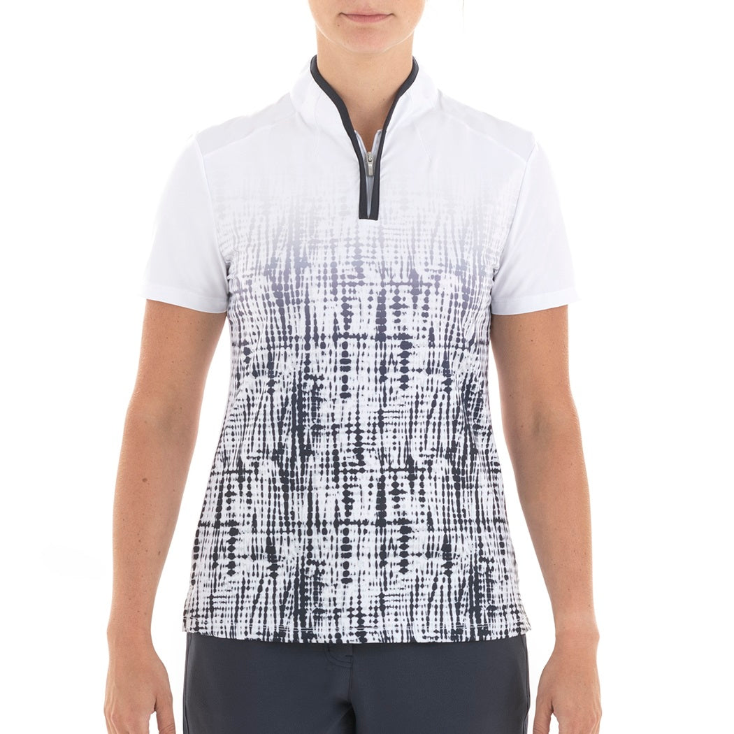 NI0210141 Nivo Amelia Women's White & Navy Zip-Neck Mock Polo Shirt Product Image Front