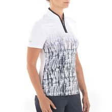 NI0210141 Nivo Amelia Women's White & Navy Zip-Neck Mock Polo Shirt Product Image Side